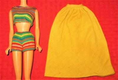 $ CDN51.84 • Buy Vintage Barbie Pak Clothes Long Yellow Skirt Striped Knit Crop Top Shorts Lot!