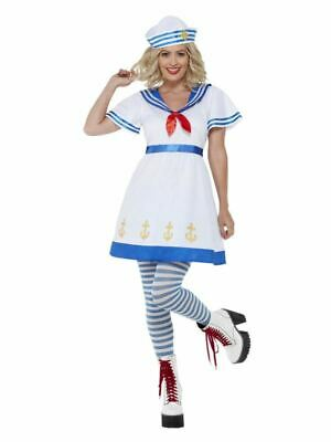 Womens High Seas Sailor Costume Nautical Navy Naval Military Fancy Dress Outfit • 35.99£