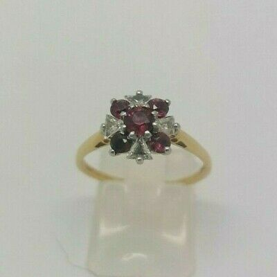 18ct Yellow Gold Ruby & Diamond Cluster Ring - 2.9g - Size P • 500£