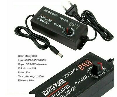 AC/DC Electrical Power Supply Adapter Charger Variable Voltage 3V-24V Adjustable • 6£
