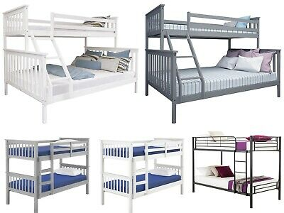 Double Bed Kids Children Wood Metal Single Bed Frame Triple Sleeper Bunk Beds UK • 129.99£