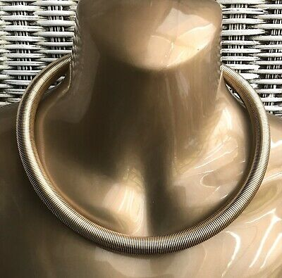 Statement Gold Tone Coil Necklace Choker 80s Retro Ethnic Aztec Boho Indie Chic • 9£