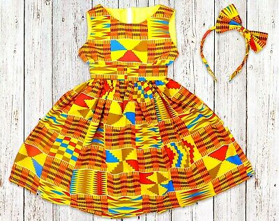 Girls African Print Kente Dress, From Size 0 Months - 14 Years • 25£