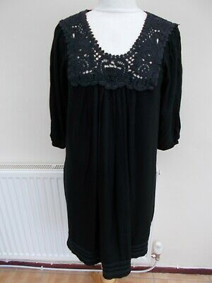 Ladies Dress Made By MONSOON Uk Size 10, Crochet Neck Line • 3.50£