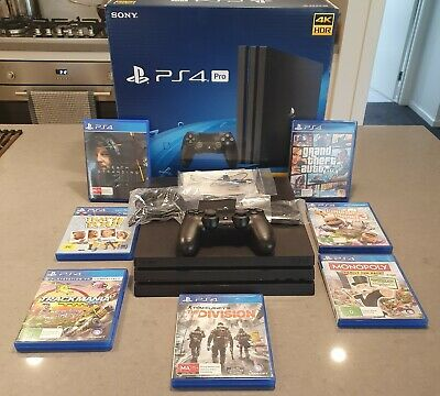 AU335 • Buy Sony Playstation PS4 Pro 1TB - 4k HDR - Controller, Box, Accessories + 7 Games