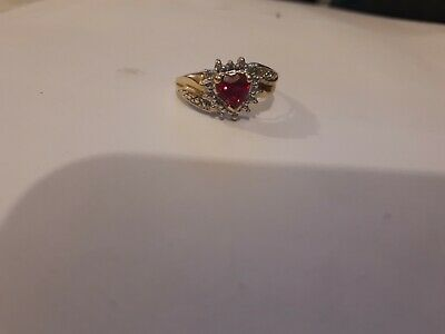 9ct Gold Synthetic Ruby And Diamonds Ring. • 100£