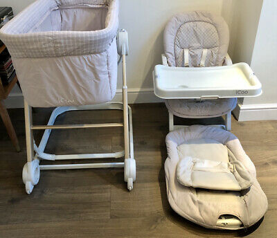 Hauck Icoo Grow With Me 3 In 1 Crib / Highchair / Rocker • 20.99£
