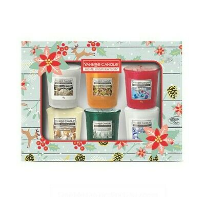 Yankee Candle Votive Home Inspiration Collection Christmas Present Gift Set Of 6 • 49.99£