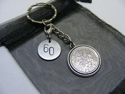 £5.95 • Buy 1961 Lucky Sixpence & Number 60 Charm Keyring - 60th Birthday Gift - (SK00)