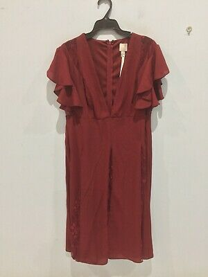 AU22 • Buy New ASOS (Petite)  Dress, Size 16(UK:16 EU:44 US:12)  Dark Red With Some Lace