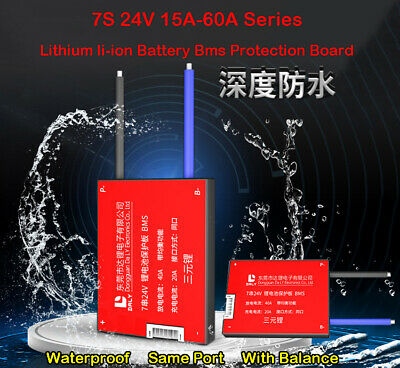 AU24.03 • Buy Waterproof BMS 7S 24V 15A-60A Li-ion Lithium Battery Charger Balanced Proection
