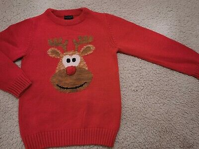Boys Next Reindeer Rudolph Christmas Jumper Knitted Novelty Jumper Age 7 Years • 2£
