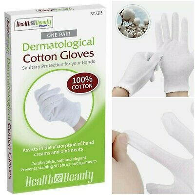 £2.88 • Buy Dermatological 100% Cotton Gloves Sanitary Protection For Hands 1 Pair Size S
