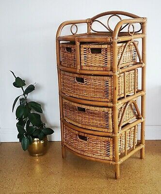 Vintage 1970s Wicker Rattan Bamboo Cane Chest 5 Drawers  Storage Unit Table Boho • 74.99£