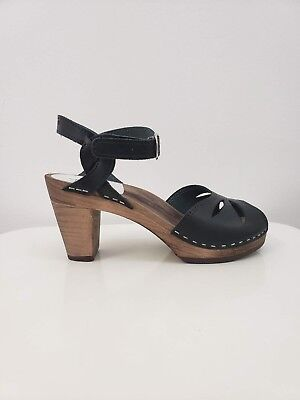 $88 • Buy Maguba Rio Black Size 41 Leather Open Toe Sandal With Natural Wood Heel
