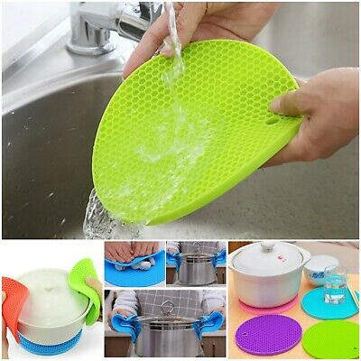 £3.48 • Buy Honeycomb Design Silicone Trivet Mat Heat Resistant Pan Pot Holder Round Thick