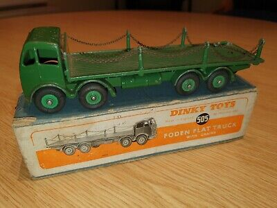 Vintage Dinky Toy Lorry No. 505 Foden Flat Bed Truck With Chains Boxed • 33£