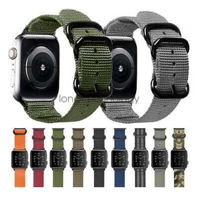 AU16.14 • Buy Durable Military Woven Nylon Watch Band Strap For Apple Watch 42mm 44mm 40/38mm