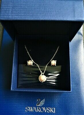 Genuine Brand New Elegant SWAROVSKI PINK PEARL JEWELLERY SET • 79£