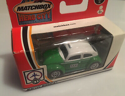 Matchbox Volkswagon VW Beetle Mexico Taxi 70mm Toy Model Chrome Wheels Classic • 12£