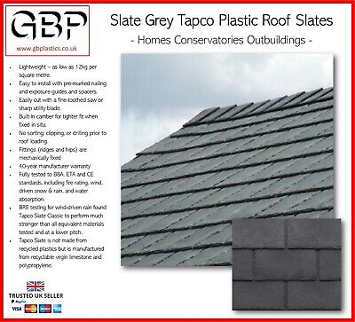 Lightweight Synthetic Slate Grey Tapco Roof Tile & Ridge Cap - Roof Shed Shingle • 4.31£