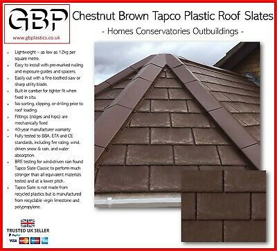 Lightweight Synthetic Chestnut Brown Tapco Roof Tile & Ridge Cap - Roof Shed • 2.63£