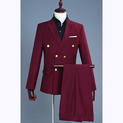 $ CDN124.76 • Buy Men's Slim Fit Dress Formal 2PCS Suit Blazers Coat Pants Outfit Wine Red Tuxedo