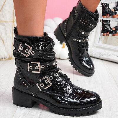 Womens Ladies Ankle Boots Zip Buckle Studded Women Boots Party Shoes Size • 18.99£