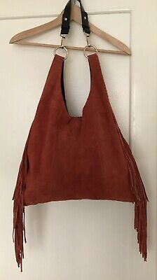 Topshop Fringed Boho Hippie Suede Leather Bag • 10£