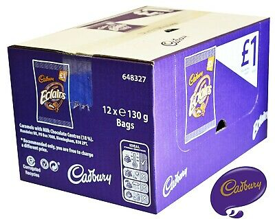£18.95 • Buy CADBURY Eclairs Classic Chocolate Bags - FULL BOX Of 12 X 130g Bags