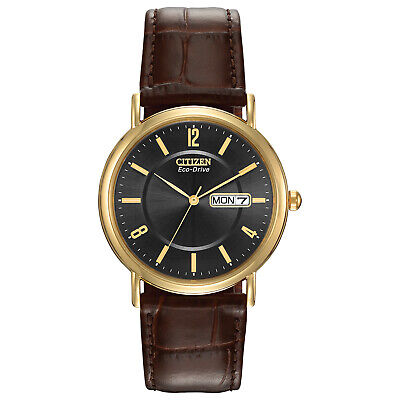 $ CDN84.81 • Buy Citizen Eco-Drive Men's Brown Leather Day/Date Indicator 36mm Watch BM8242-08E