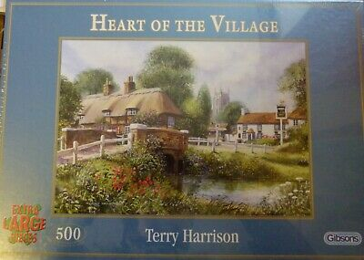 Gibsons 500 Extra Large Pieces Jigsaw Heart Of The Village By Terry Harrison • 5£