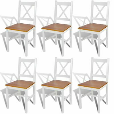 AU393.95 • Buy Wooden Dining Chairs Set Simple Stylish Design Kitchen Pine Furniture White 6 Pc