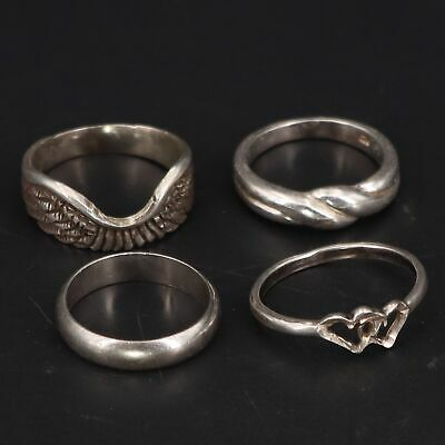 $ CDN4.21 • Buy Sterling Silver - Lot Of 4 Assorted Solid Rings NOT SCRAP - 10.5g
