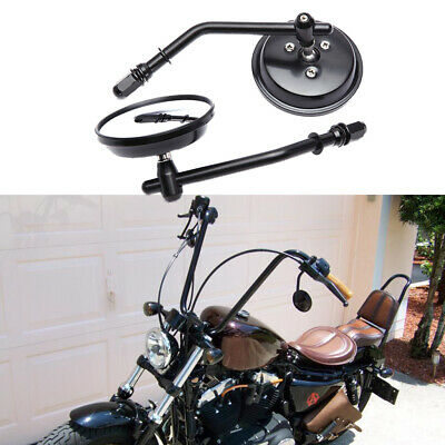 $28.46 • Buy Black Round Motorcycle Mirrors For Harley Davidson Sportster 883 1200 Softail US