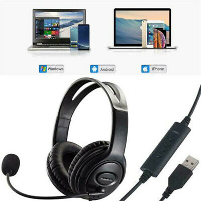For PC Laptop Chat Call Center USB Headset With Noise Cancelling Microphone Mic • 11.99£