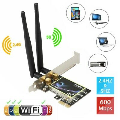 £13.09 • Buy 2.4G/5GHz Wireless 600Mbps PCI-E WiFi Card  Dual Band Network Adapter Desktop PC