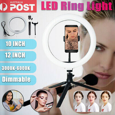 AU19.80 • Buy 10 /12  LED Ring Light Live Stand Video Makeup Selfie Fill For Phone Studio Lamp