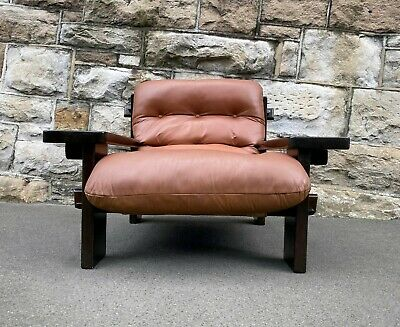 AU2790 • Buy Jean Gillon Percival Lafer Brazilian Rosewood Leather Armchair Chair 60s 70s