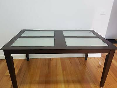 AU150 • Buy 6-seater Brown Wood And Glass Dining Table