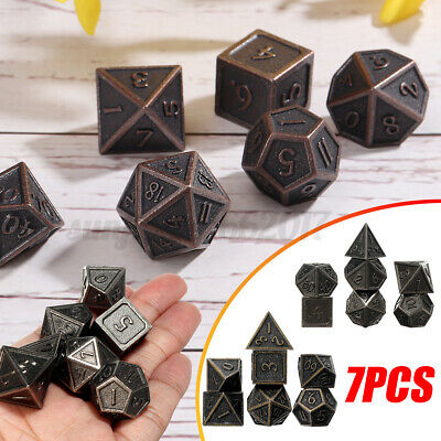 AU15.44 • Buy 3 Types Embossed Heavy Metal Polyhedral Dice DnD RPG SET 7pcs With Bags AU *