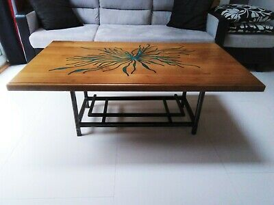Solid Oak, Resin And Steel Upcycled Coffee Table. • 275£