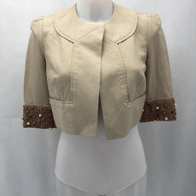 AU24.80 • Buy Diane Von Furstenberg Tan Cropped Jacket 0