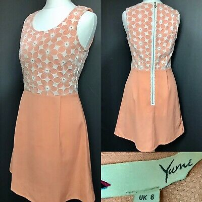 Yumi Orange  Floral Uk8 Ladies Girls Skater A Line Dress Lace Embroidery Summer • 5.99£