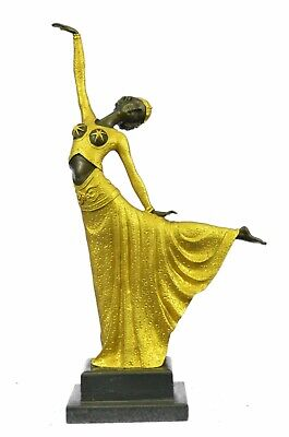 Signed D.H.Chiparus Bronze Statue, Art Deco Dancer Sculpture Hand Made Figurine • 187.39£