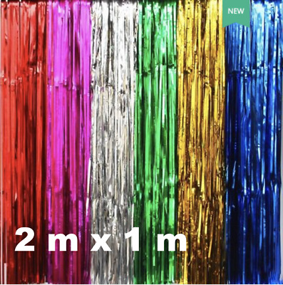 AU3.79 • Buy 1x2M Metallic Tinsel Curtain Foil Backdrop Wedding Birthday Party PomPom Decor