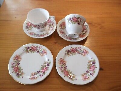 Colclough  Wayside  Honeysuckle & Rose - 2 X Tea Trios Of Cup, Saucer And Plate • 15£