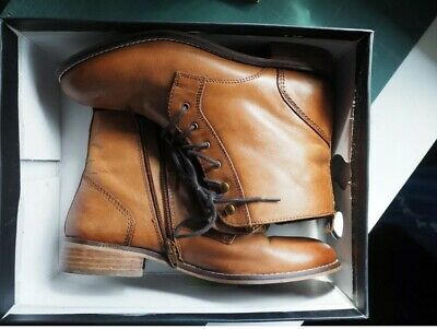London DUNE Lace-up Ankle Boots, Size 7, 511 QUINCEY, Tan-leather, Used • 19.99£
