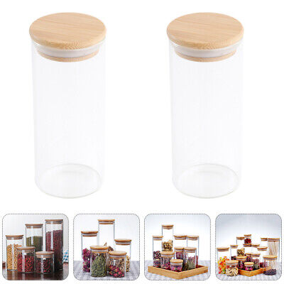 2pcs 250ml/300ml/450ml Glass Storage Jars Kitchen Containers With Bamboo Lid • 12.34£