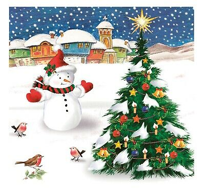£4.49 • Buy Napkins For Decoupage Christmas LUXURY Decorations Snowman 33x33cm 3PLY 20 Pack